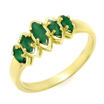 Certified Five-Stone 0.50ctw Emerald Ring Yellow Gold