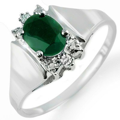 Certified 1.10ctw Diamond & Emerald Ring White Gold
