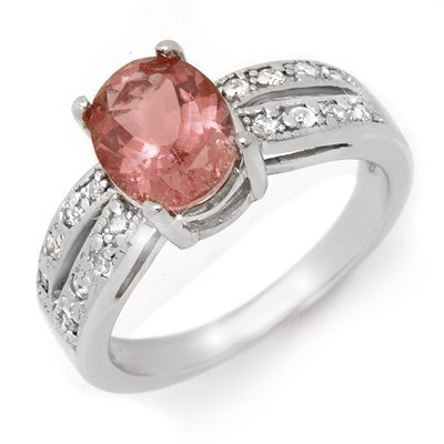 Certified 2.33ct Pink Tourmaline & Diamond Ring 14KGold