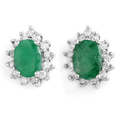 Certified 3.85ctw Diamond & Emerald Earrings White Gold