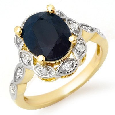 ACA Certified 4.15ctw Diamond & Sapphire Ring 14K Gold