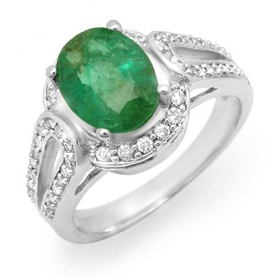 Certified 2.50ctw Emerald & Diamond Ring White Gold