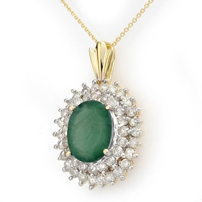 ACA Certified 10.11ctw Emerald & Diamond Pendant Gold