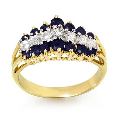 GENUINE 1.02 ctw SAPPHIRE & DIAMOND RING GOLD