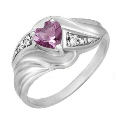Certified 0.41ctw Diamond & Amethyst Ring White Gold