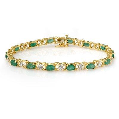 Certified 6.85ctw Emerald & Diamond Bracelet 14K Gold