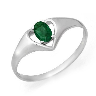 Certified Quality .25ctw Emerald Ladies Ring White Gold