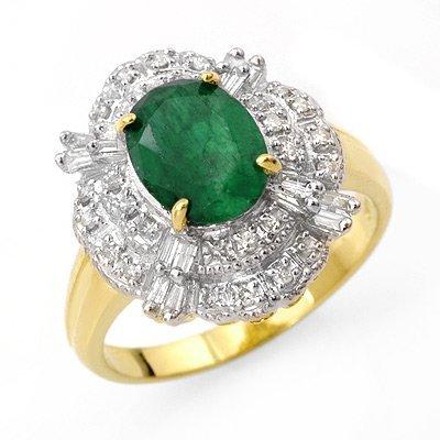 Certified 3.31ctw Emerald & Diamond Ring 14K Gold