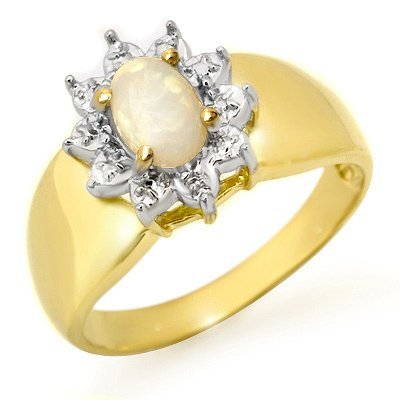 Overstock Certified .33ctw Opal Ladies Ring Yellow Gold