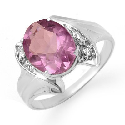 Certified 1.59ctw Amethyst & Diamond Ring White Gold