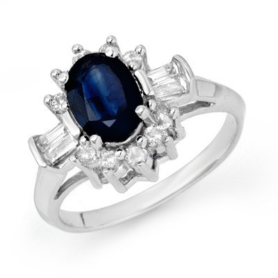 Genuine 2.33ctw Sapphire & Diamond Ring 14K White Gold