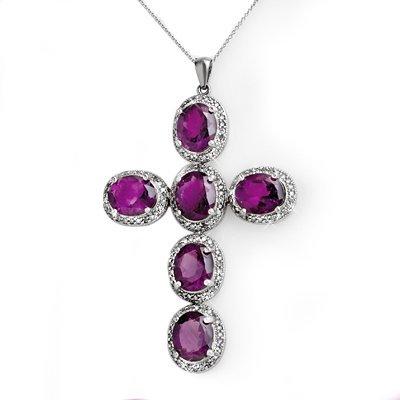 ACA Certified 20.0ctw Diamond & Amethyst Cross Pendant