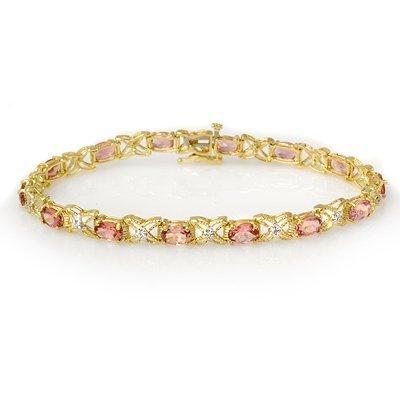 Overstock 6.0ct Pink Tourmaline & Diamond Bracelet Gold