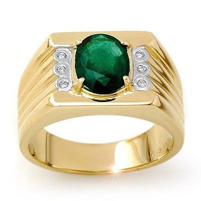 ACA Certified 2.06ctw Diamond & Emerald Men's Ring Gold