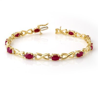 Certified 8.80ctw Ruby & Diamond Bracelet Yellow Gold