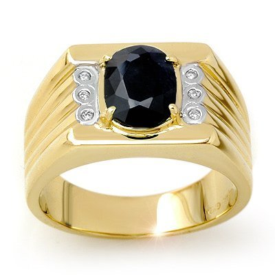 Certified 3.76ctw Diamond & Sapphire Men's Ring Gold