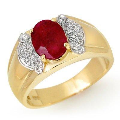ACA Overstock 2.75ctw Ruby & Diamond Men's Ring Gold