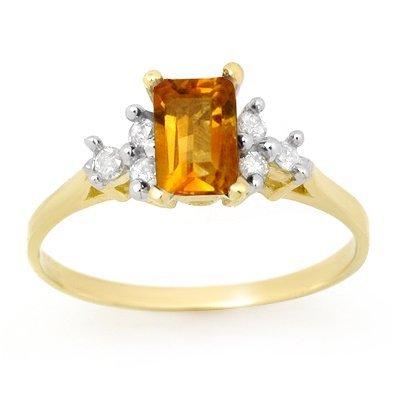Certified 1.14ctw Diamond & Citrine Ring Yellow Gold