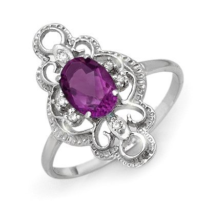 Certified 0.80ctw Amethyst & Diamond Ring White Gold