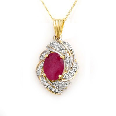 ACA Certified 3.87ctw Ruby & Diamond Pendant 14K Gold