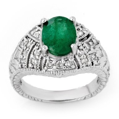 Certified 3.80ctw Diamond & Emerald Ring 14K Gold
