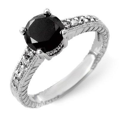 ACA Certified 2.05ct White/Black Diamond Ring 14K Gold