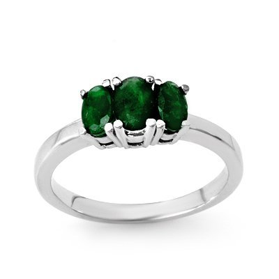 Certified Three-Stone  1.0ctw Emerald Ring White Gold