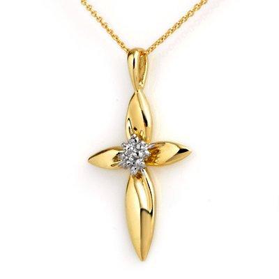 Certified .02ctw Diamond Cross Pendant Yellow Gold