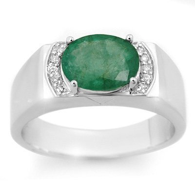 Men's 2.10ctw Diamond & Emerald Ring Solid White Gold