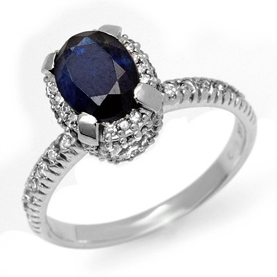 Certified 2.20ctw Sapphire & Diamond Ring White Gold