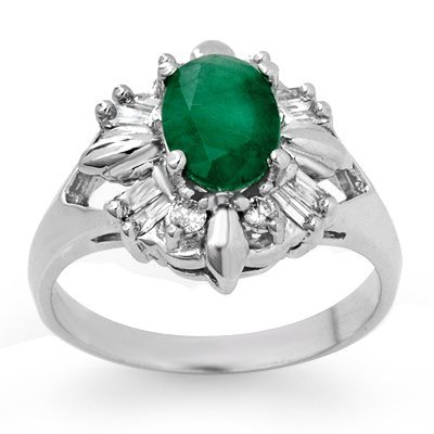 Certified 1.75ctw Emerald & Diamond Ring White Gold