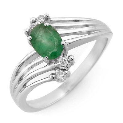 ACA Certified .65ctw Emerald & Diamond Ring White Gold