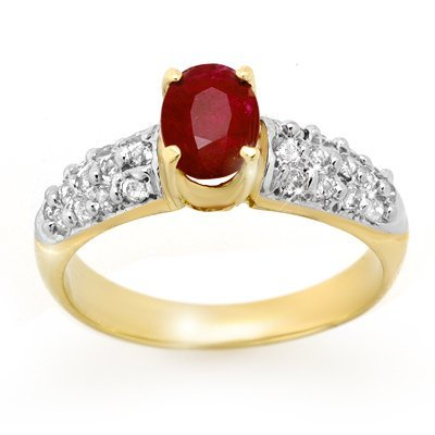 ACA Certified 1.50ctw Ruby & Diamond Ring Yellow Gold