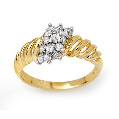 ACA Certified Cluster 0.25ctw Diamond Ring Yellow Gold