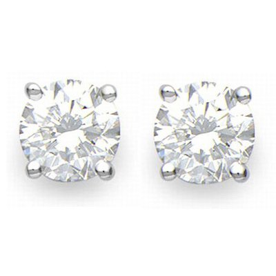 Solitaire 2.50ctw Diamond Stud Earrings 14KT White Gold