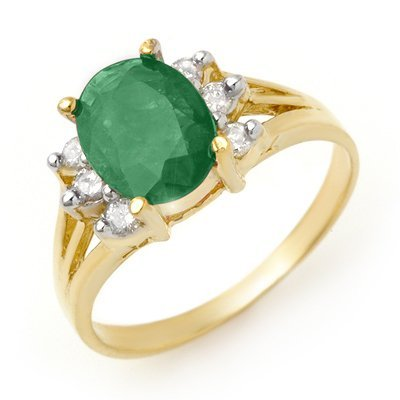 Certified 2.03ctw Emerald & Diamond Ring Yellow Gold