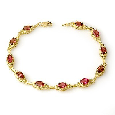Certified 4.50ctw Pink Tourmaline Bracelet Yellow Gold