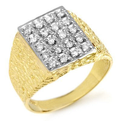 Famous Brand 0.50ctw Diamond Men's Ring Yellow Gold