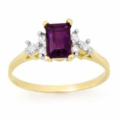 Certified 1.14ctw Diamond & Amethyst Ring Yellow Gold