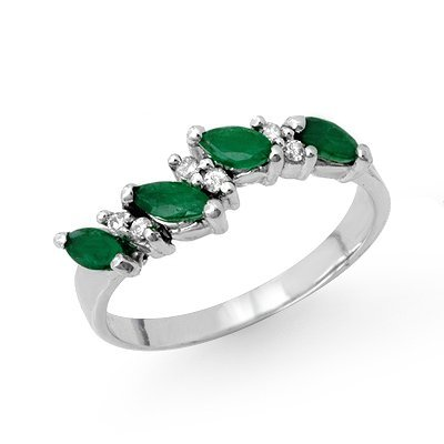 Certified .61ctw Emerald & Diamond Ring White Gold