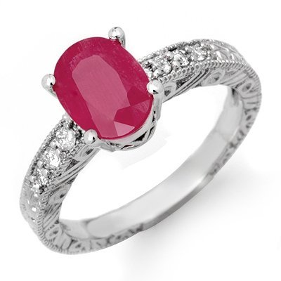 Certified 3.28ctw Diamond & Ruby Ring 14K White Gold