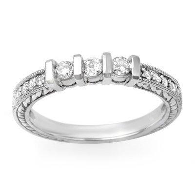 Certified Three-Stone 0.55ctw Diamond Ring 14K White Go