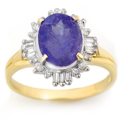 Certified 3.03ctw Tanzanite & Diamond Ring Yellow Gold
