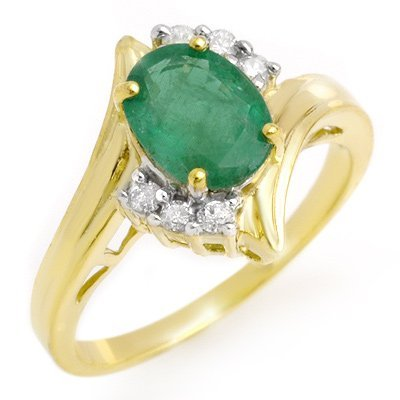 ACA Certified 1.5ctw Diamond & Emerald Ring Yellow Gold