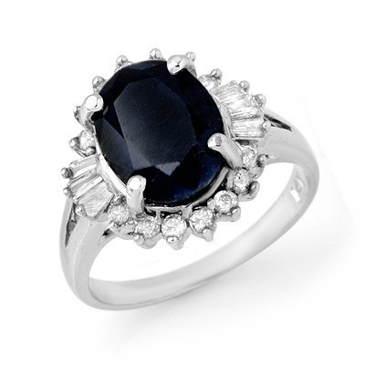 Genuine 5.47ctw Sapphire & Diamond Ring 14K White Gold