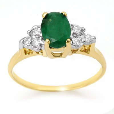 Certified 1.18ctw Diamond & Emerald Ring Yellow Gold