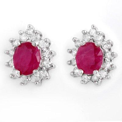 Certified 4.44ctw Ruby & Diamond Earrings 14K Gold