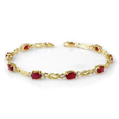 Certified 5.48ctw Ruby & Diamond Bracelet Yellow Gold