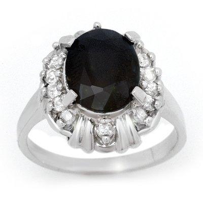 Certified 3.83ctw Sapphire & Diamond Ring White Gold