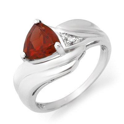 Certified 1.28ctw Garnet & Diamond Ladies Ring Gold